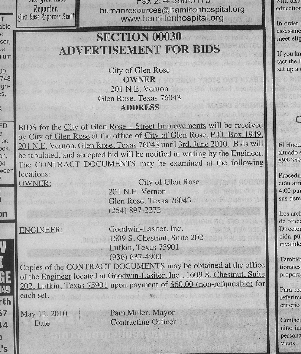 City of Glen Rose ad for bid is missing date/time to be opened